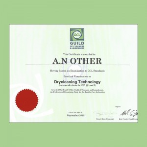 Practical Dry Cleaning certificate